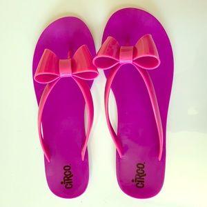 Bow purple flip flops sandals slides